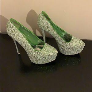 Green and white bling heel